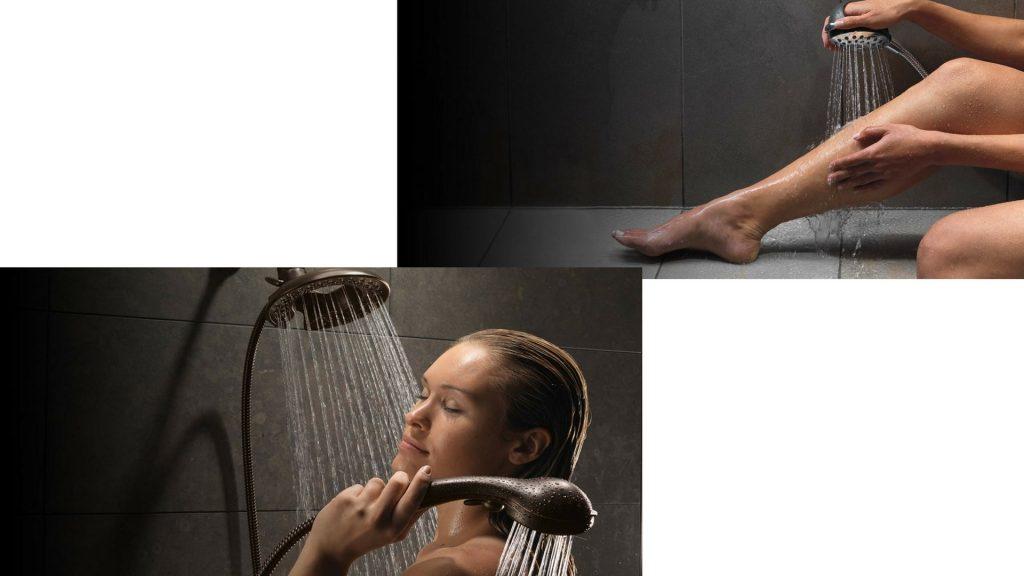 Ducha com coluna é ideal para usar duas duchas simultaneamente.